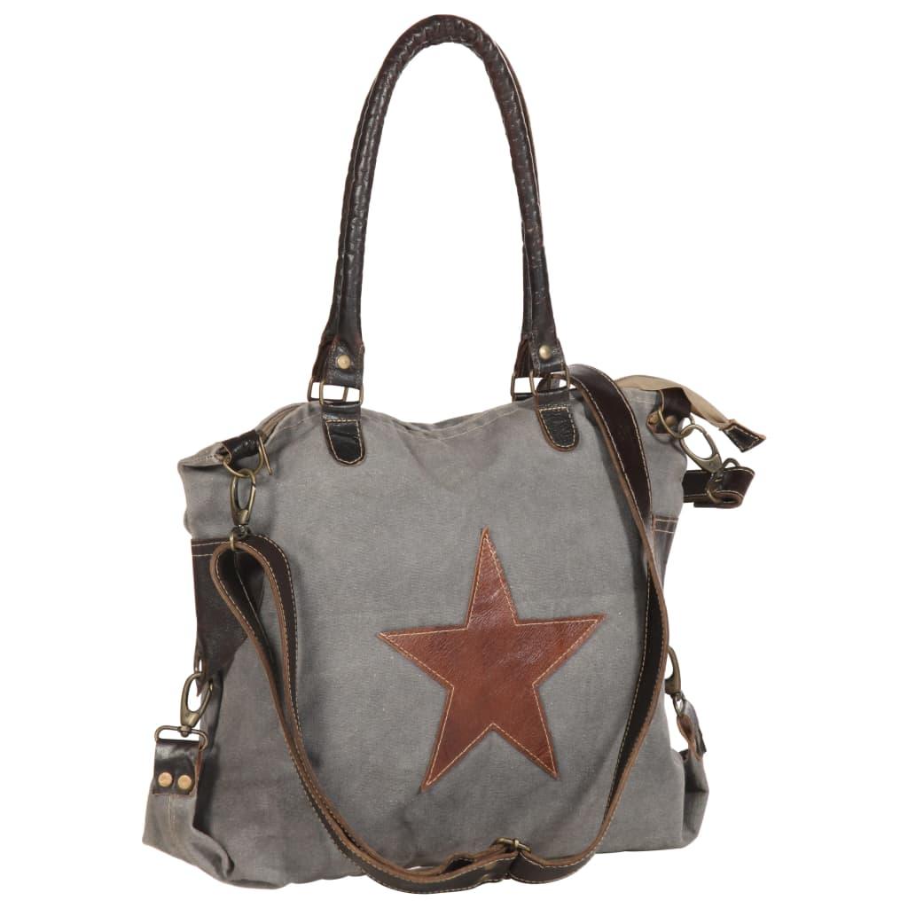 Shopper kabelka tmavě šedá 41 x 63 cm plátno a pravá kůže