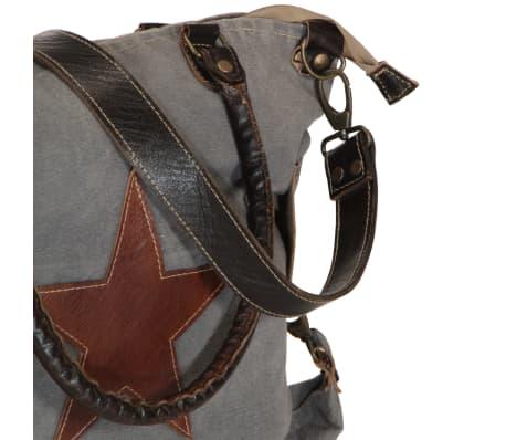 vidaXL shoppertaske 41 x 63 cm kanvas og ægte læder grå[5/6]