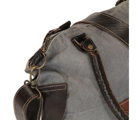 vidaXL shoppertaske 41 x 63 cm kanvas og ægte læder grå[6/6]