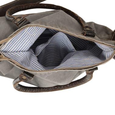 vidaXL shoppertaske 41 x 63 cm kanvas og ægte læder grå[4/6]
