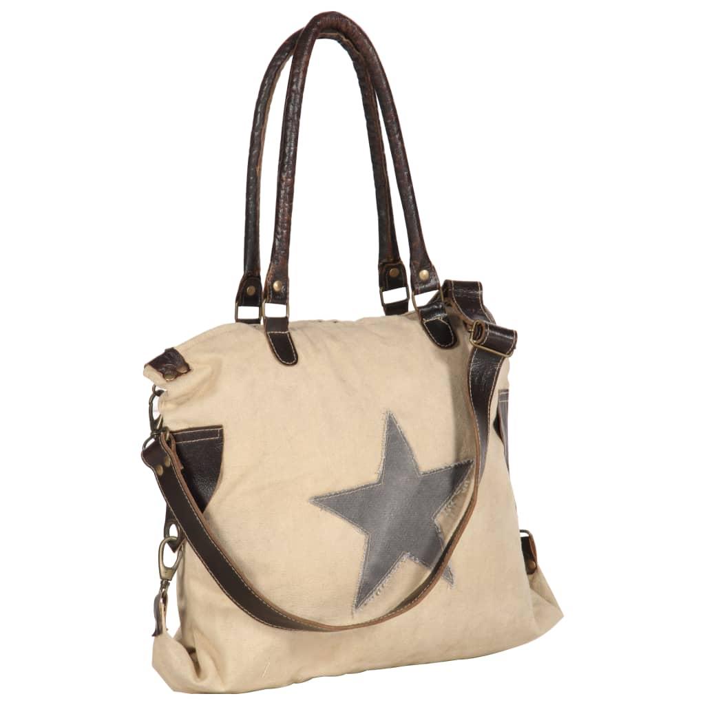 Shopper kabelka béžová 41 x 63 cm plátno a pravá kůže