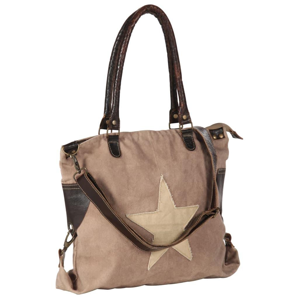 Shopper kabelka hnědá 41 x 63 cm plátno a pravá kůže