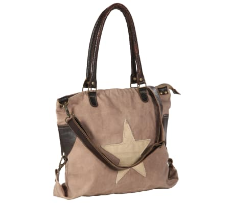 vidaXL Shopper Bag Brown 41x63 cm Canvas and Real Leather[1/8]