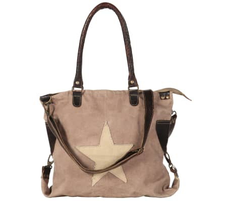 vidaXL Shopper Bag Brown 41x63 cm Canvas and Real Leather[3/8]