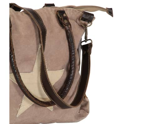 vidaXL Shopper Bag Brown 41x63 cm Canvas and Real Leather[7/8]
