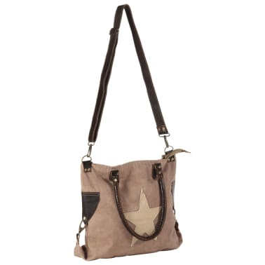 vidaXL Shopper Bag Brown 41x63 cm Canvas and Real Leather[2/8]