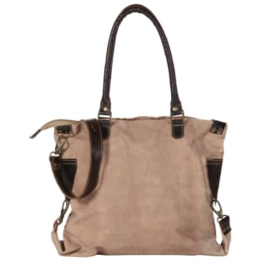 vidaXL Shopper Bag Brown 41x63 cm Canvas and Real Leather[5/8]