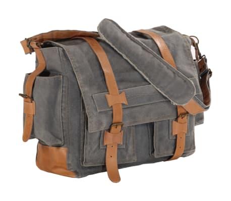 vidaXL Saco de ombro 42x13x34,5cm lona e couro genuíno cinzento-escuro[1/6]