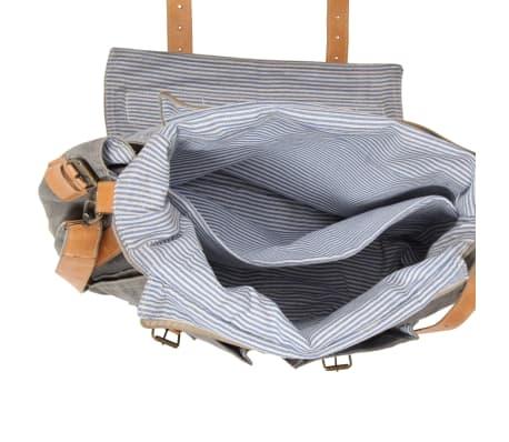 vidaXL Geantă umăr, gri închis, 42x13x34,5 cm, pânză și piele naturală[6/6]