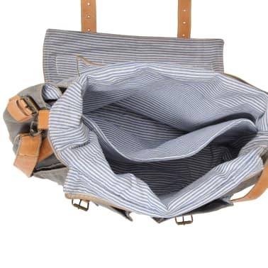 vidaXL Saco de ombro 42x13x34,5cm lona e couro genuíno cinzento-escuro[6/6]