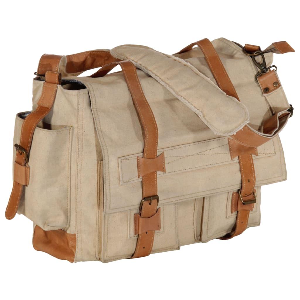 Taška přes rameno béžová 42 x 13 x 34,5 cm plátno a pravá kůže