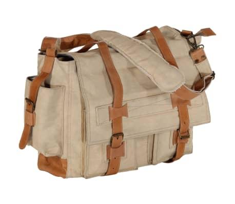 vidaXL Bolso de hombro beige 42x13x34,5 cm lona y cuero real
