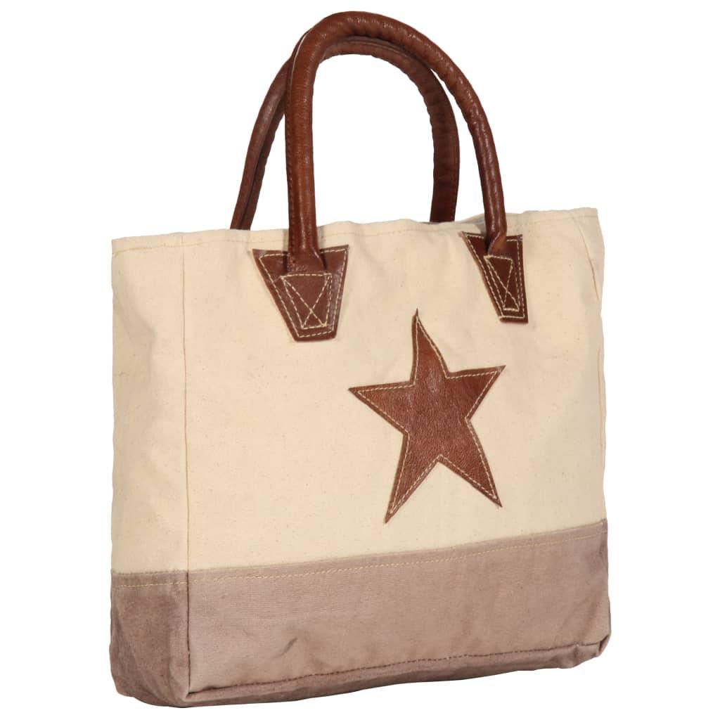 vidaXL Shopper kabelka béžová 32 x 10 x 37,5 cm plátno a pravá kůže