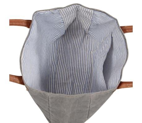 vidaXL Einkaufstasche Dunkelgrau 32x10x37,5cm Segeltuch und Echtleder[5/6]