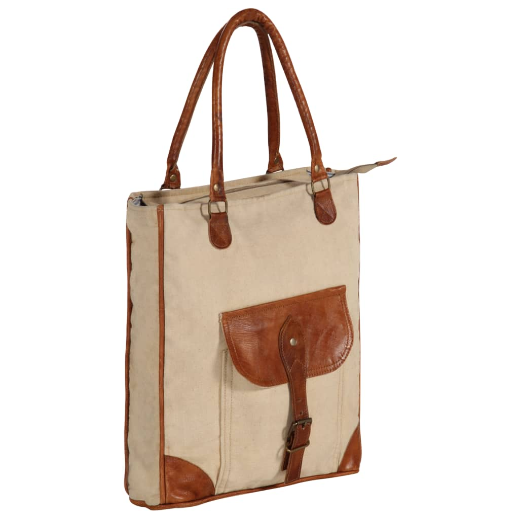 Shopper kabelka béžová 34,5 x 10 x 57 cm plátno a pravá kůže