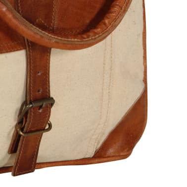 vidaXL Torba shopper, beżowa, 34,5x10x57 cm, płótno i skóra naturalna[6/6]
