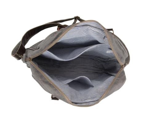 vidaXL Handtasche Dunkelgrau 40 x 54 cm Segeltuch und Echtleder[5/7]