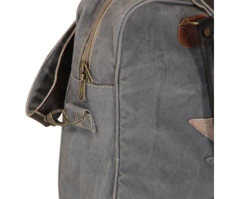 vidaXL Handtasche Dunkelgrau 40 x 54 cm Segeltuch und Echtleder[6/7]