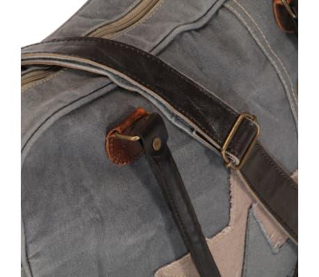 vidaXL Handtasche Dunkelgrau 40 x 54 cm Segeltuch und Echtleder[7/7]