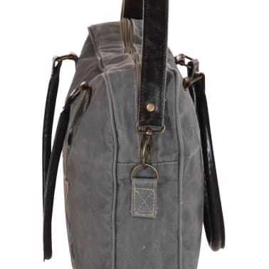 vidaXL Handtasche Dunkelgrau 40 x 54 cm Segeltuch und Echtleder[4/7]