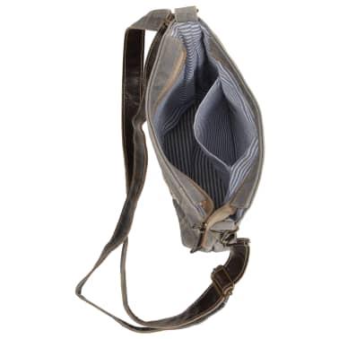 vidaXL Torba na ramię, ciemnoszara, 34x23 cm, płótno i skóra[4/7]