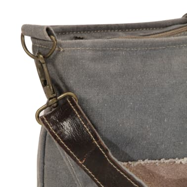 vidaXL Torba na ramię, ciemnoszara, 34x23 cm, płótno i skóra[6/7]