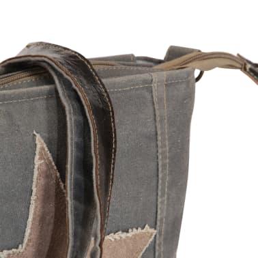 vidaXL Torba na ramię, ciemnoszara, 34x23 cm, płótno i skóra[7/7]
