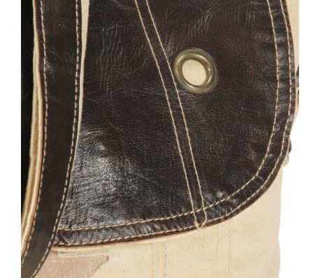 vidaXL Schultertasche Beige 29 x 6 x 24 cm Segeltuch und Echtleder[6/6]