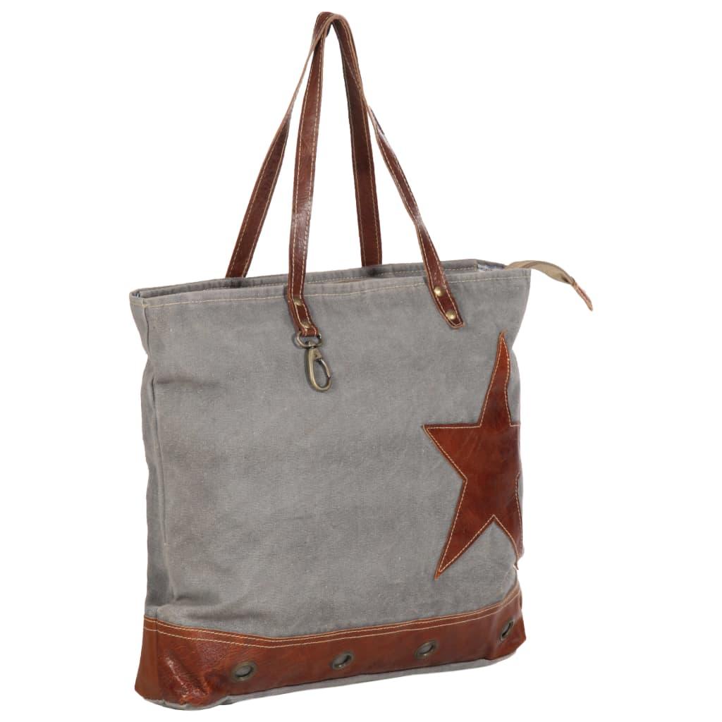 Shopper kabelka tmavě šedá 48 x 61 cm plátno a pravá kůže