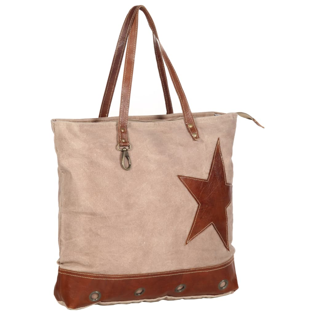 Shopper kabelka hnědá 48 x 61 cm plátno a pravá kůže