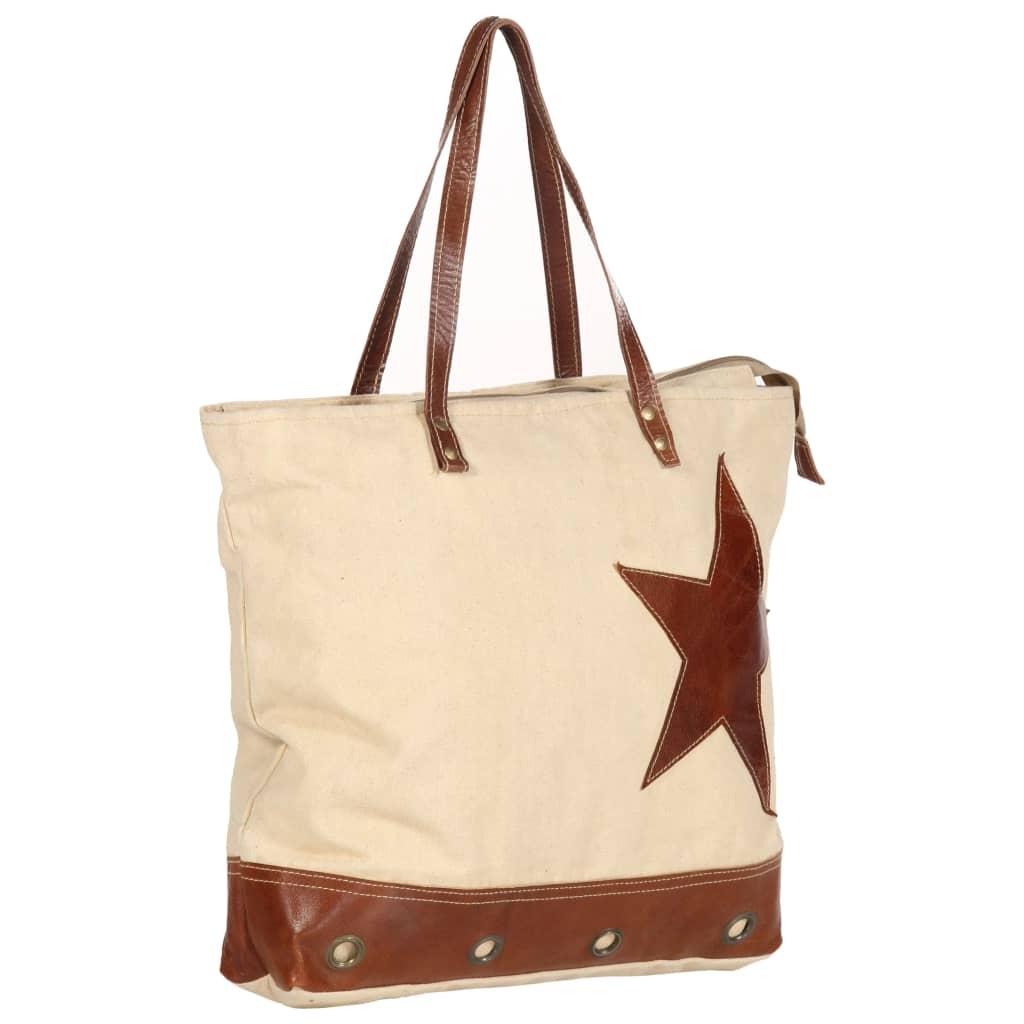 Shopper kabelka béžová 48 x 61 cm plátno a pravá kůže