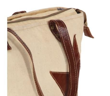 vidaXL Torba shopper, beżowa, 48x61 cm, płótno i skóra naturalna[6/6]