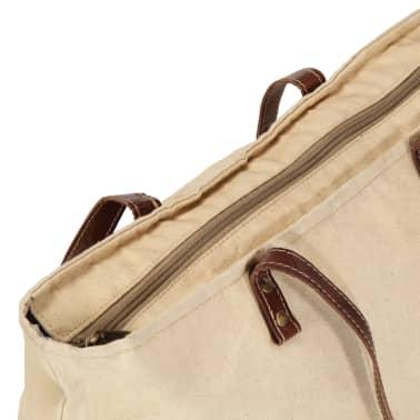 vidaXL Torba shopper, beżowa, 48x61 cm, płótno i skóra naturalna[5/6]