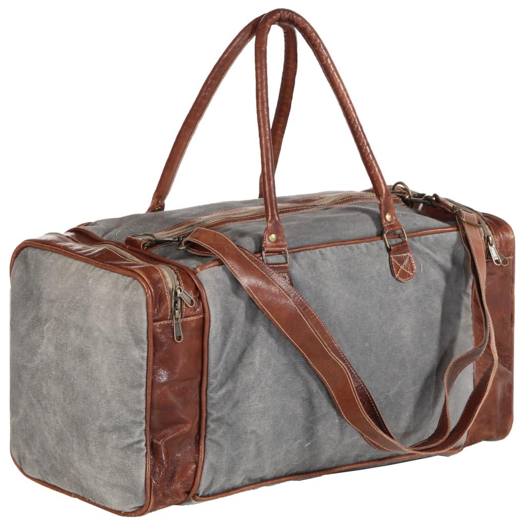 Víkendová taška tmavě šedá 54 x 23 x 52 cm plátno a pravá kůže
