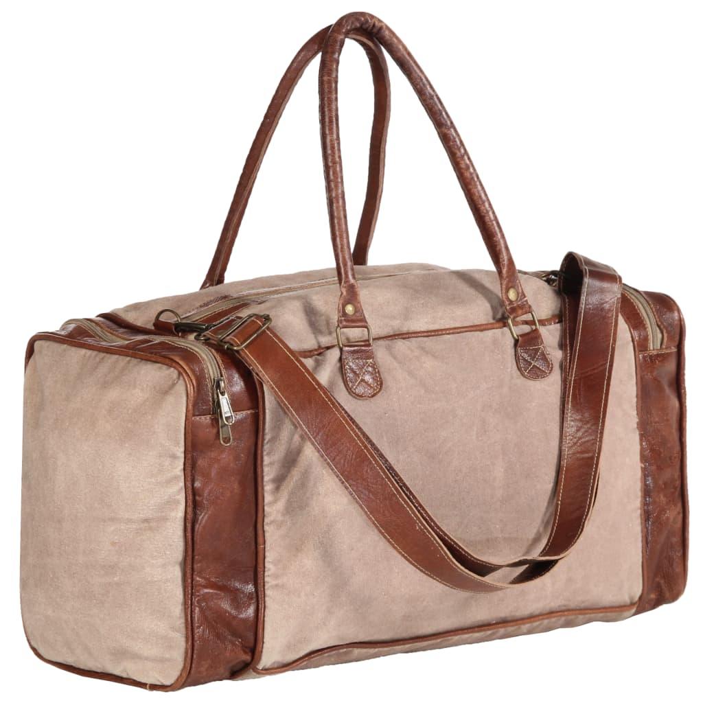 Víkendová taška hnědá 54 x 23 x 52 cm plátno a pravá kůže