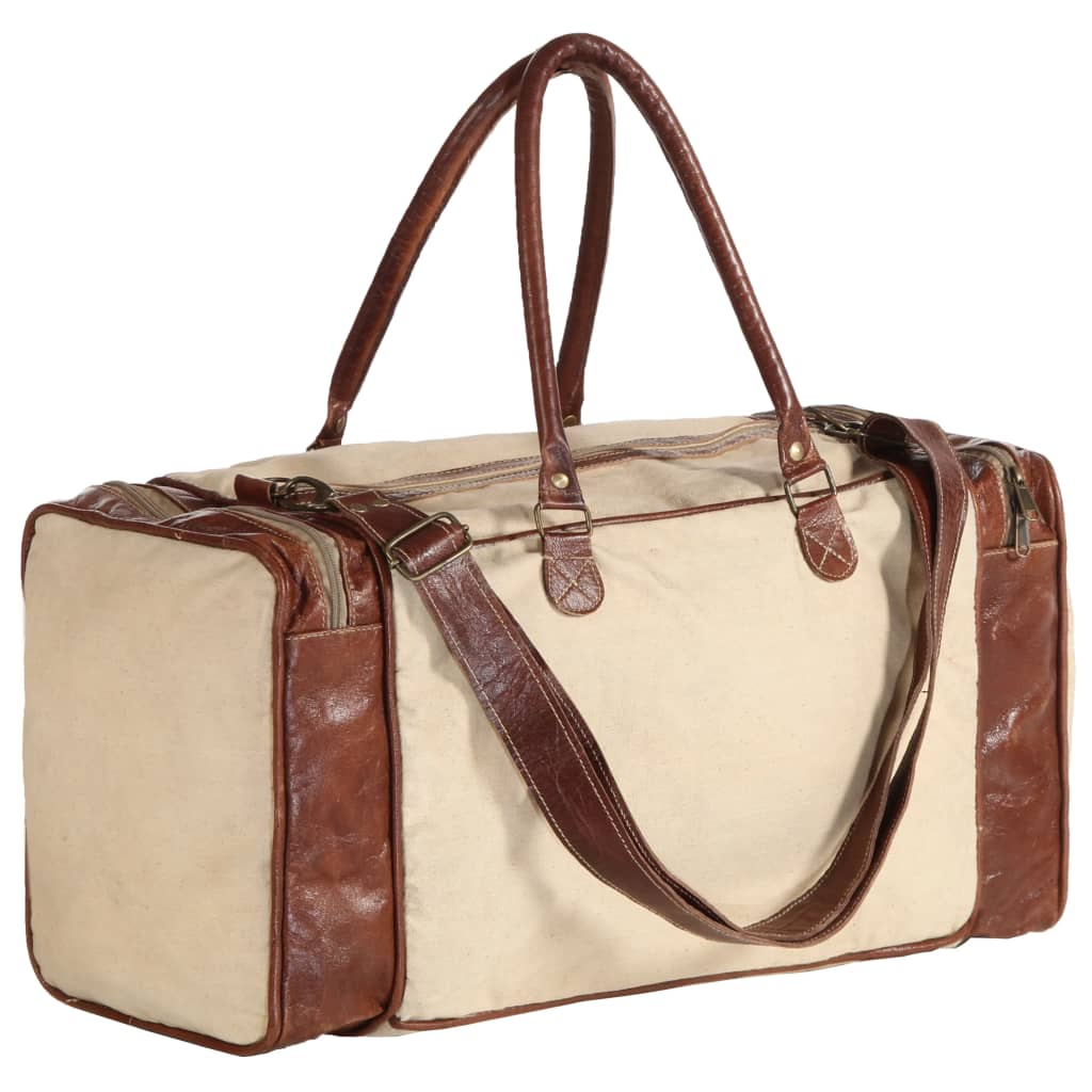 Víkendová taška béžová 54 x 23 x 52 cm plátno a pravá kůže