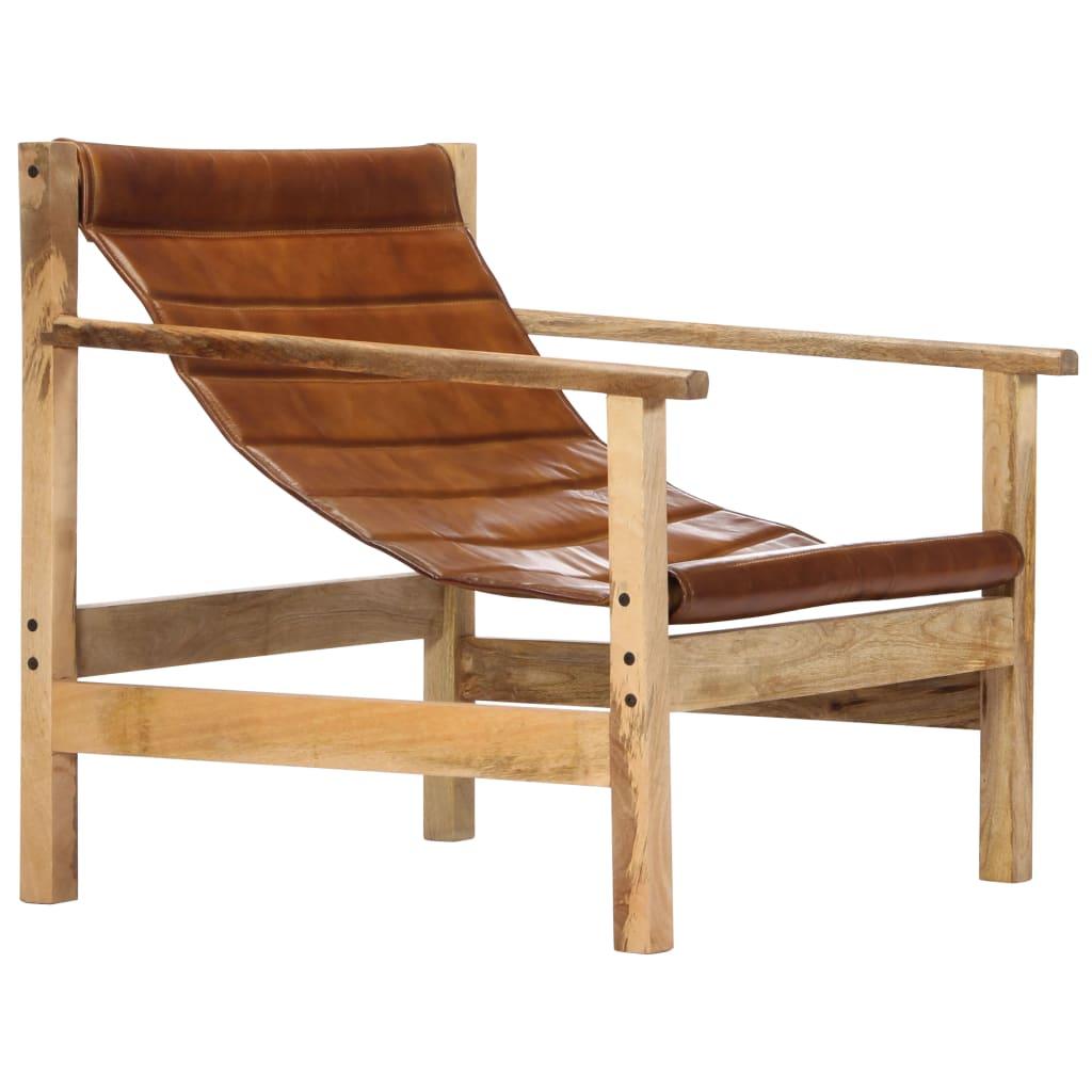 vidaXL Fotel wypoczynkowy, brązowy, skóra naturalna