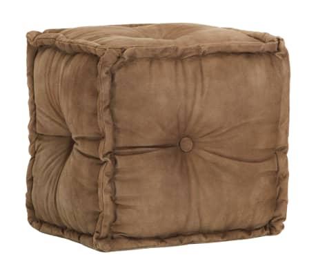 vidaXL Sittpuff brun 40x40x40 cm bomullskanvas