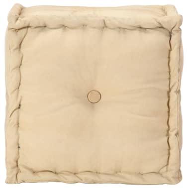 vidaXL Pufas, smėlio spalvos, 40x40x40 cm, medvilnės audinys[2/4]
