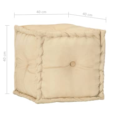 vidaXL Pufas, smėlio spalvos, 40x40x40 cm, medvilnės audinys[4/4]