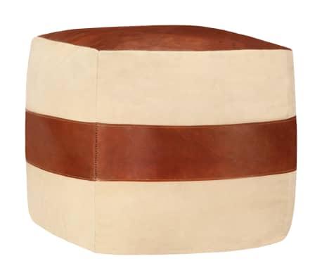 vidaXL Puf color arena 40x40x40 cm lona de algodón y cuero