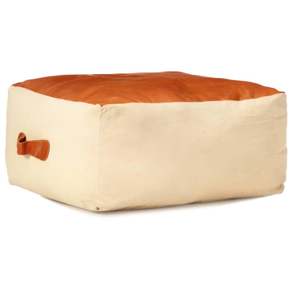 vidaXL Sedací puf pískový 60 x 60 x 30 cm bavlněné plátno a kůže