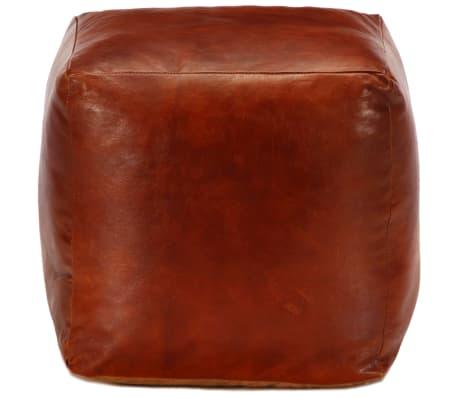 vidaXL Pufas, gelsvai rudas, 40x40x40cm, tikra ožkos oda[2/4]