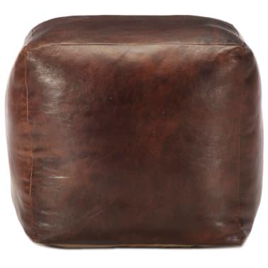 vidaXL Pufas, tamsiai rudas, 40x40x40cm, tikra ožkos oda[2/4]