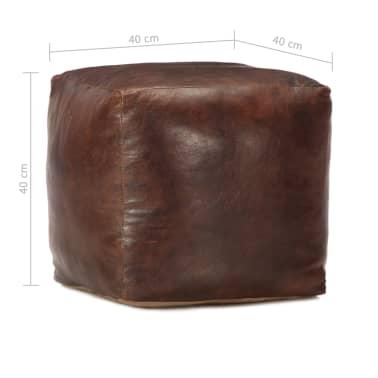 vidaXL Pufas, tamsiai rudas, 40x40x40cm, tikra ožkos oda[4/4]