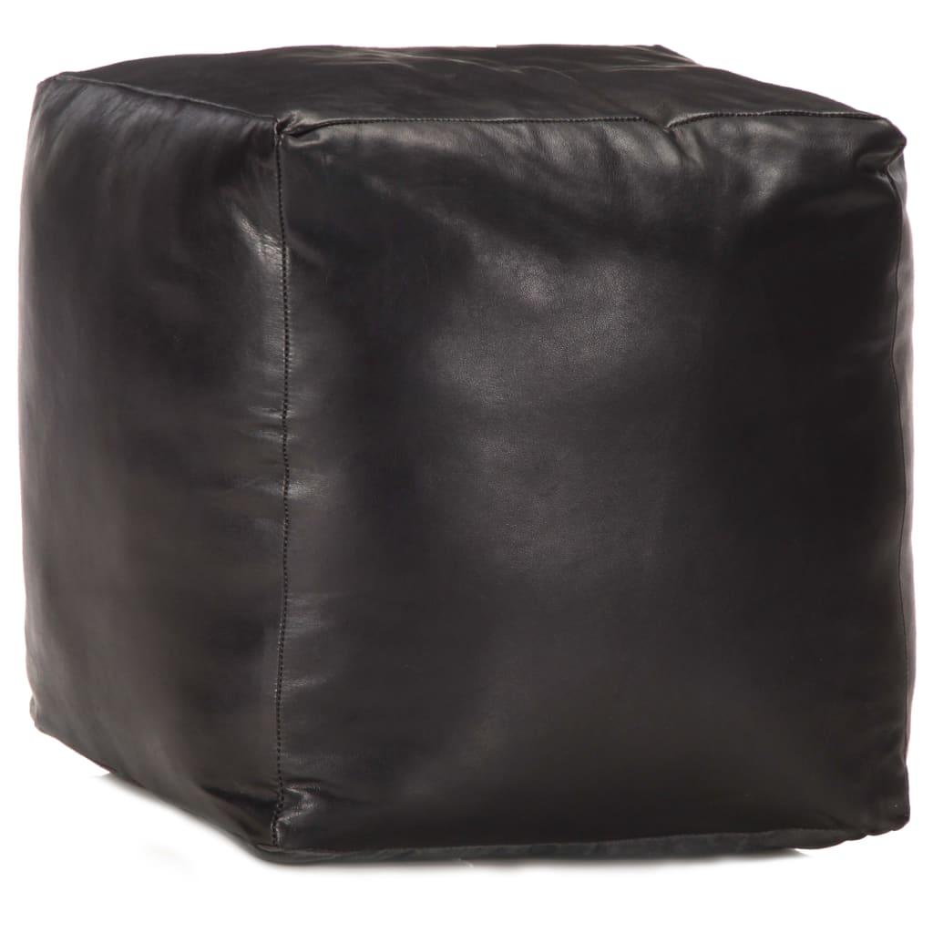vidaXL Fotoliu puf, negru, 40 x 40 x 40 cm, piele naturală de capră imagine vidaxl.ro
