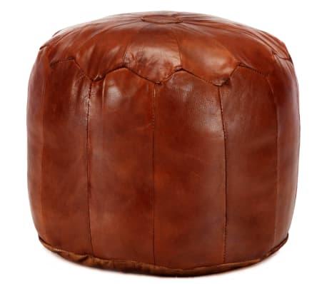 vidaXL Pufas, gelsvai rudas, 40x35 cm, tikra ožkos oda[1/4]