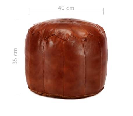 vidaXL Pufas, gelsvai rudas, 40x35 cm, tikra ožkos oda[4/4]
