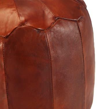 vidaXL Pufas, gelsvai rudas, 40x35 cm, tikra ožkos oda[2/4]