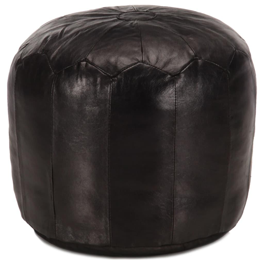 vidaXL Sedací puf černý 40 x 35 cm pravá kozí kůže